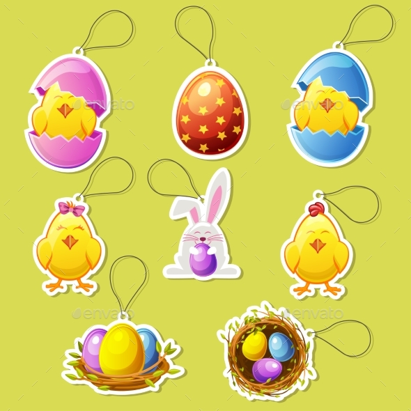 Pack Cartoon Icon Stickers for Easter - Animals Characters