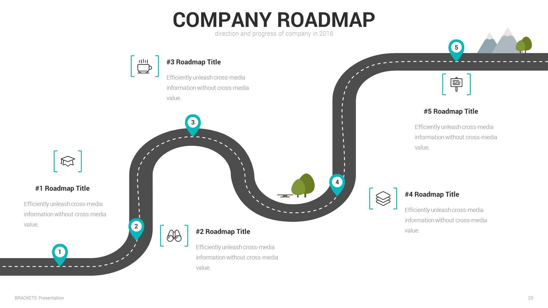 Brackets Multipurpose Keynote Template By Aumlette GraphicRiver - Keynote roadmap template