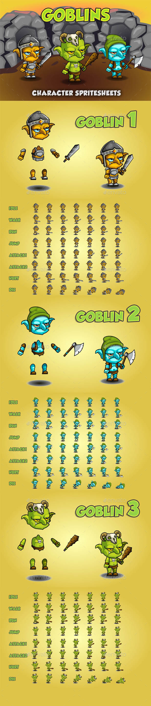 Goblin 2D Game Character Sprite Sheet - Sprites Game Assets