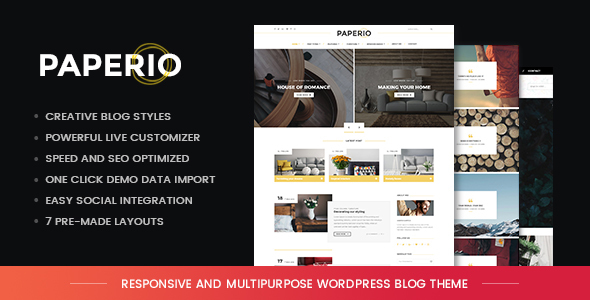 Paperio - Responsive and Multipurpose WordPress Blog Theme - Blog / Magazine WordPress