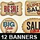 12 Paper Sale Banners Labels Set