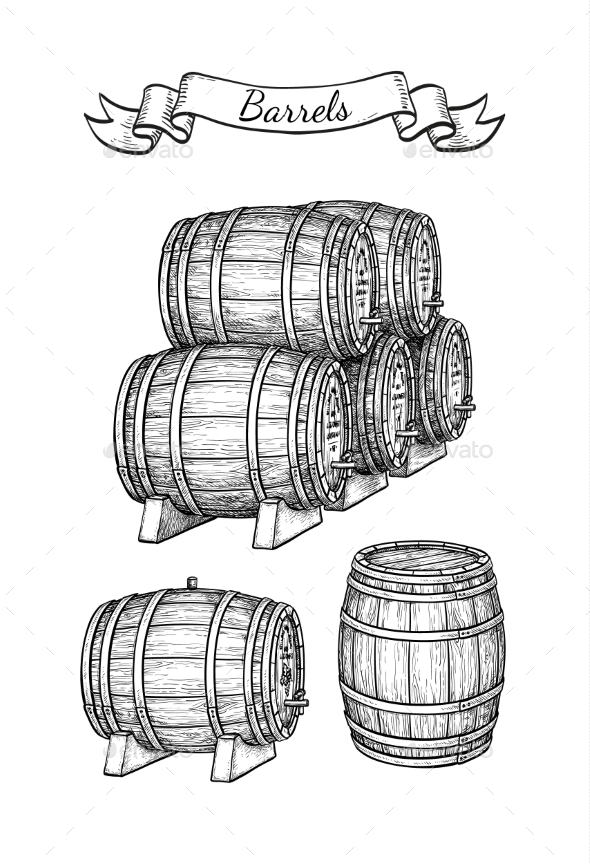 Barrels Set Isolated on White - Man-made Objects Objects