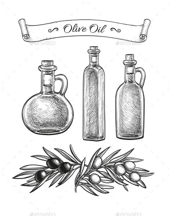 Hand Drawn Olive Set - Food Objects