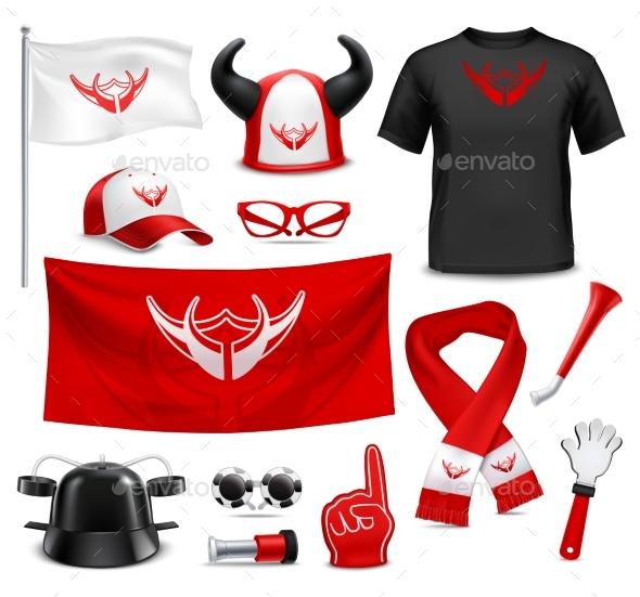 Fan Buff Gear Accessories Realistic Set - Sports/Activity Conceptual