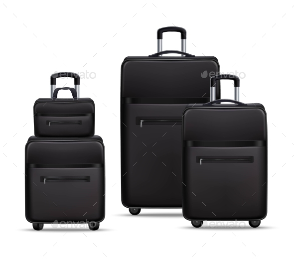 Business Travel Black Realistic Luggage Set - Travel Conceptual