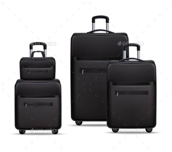 Business Travel Black Realistic Luggage Set - Travel Conceptual