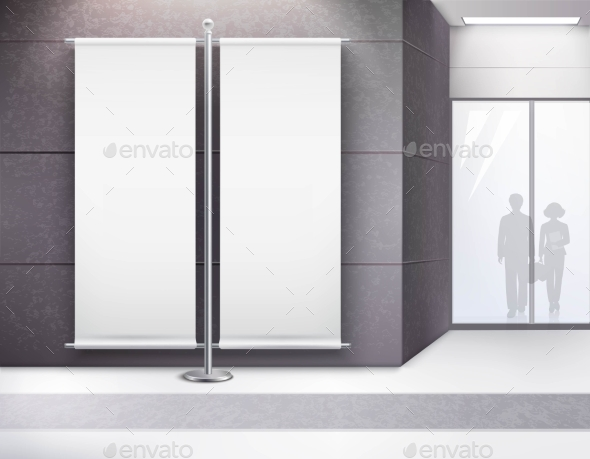 Blank Advertising Double Banner in Interior - Concepts Business