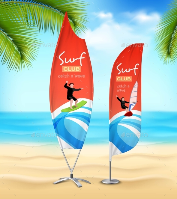 Surf Club 2 Advertsement Beach Banners - Sports/Activity Conceptual