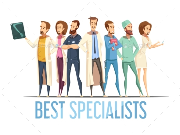 Medical Specialists Cartoon Style - Health/Medicine Conceptual