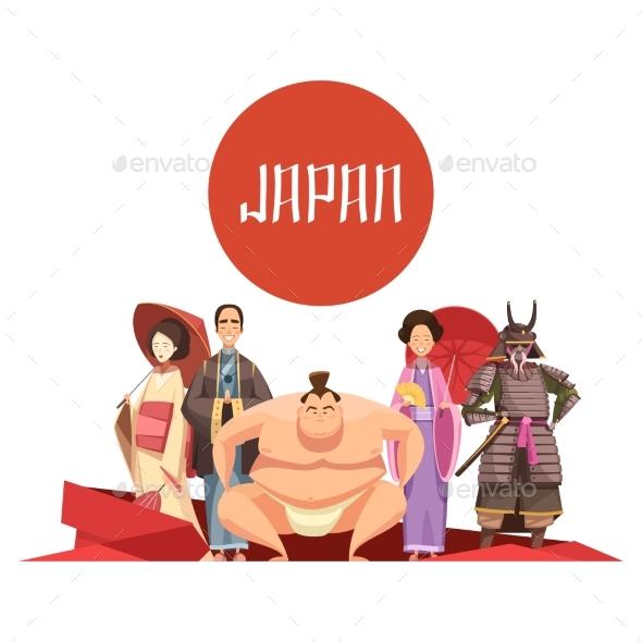 Japanese Persons Retro Cartoon Design - Travel Conceptual