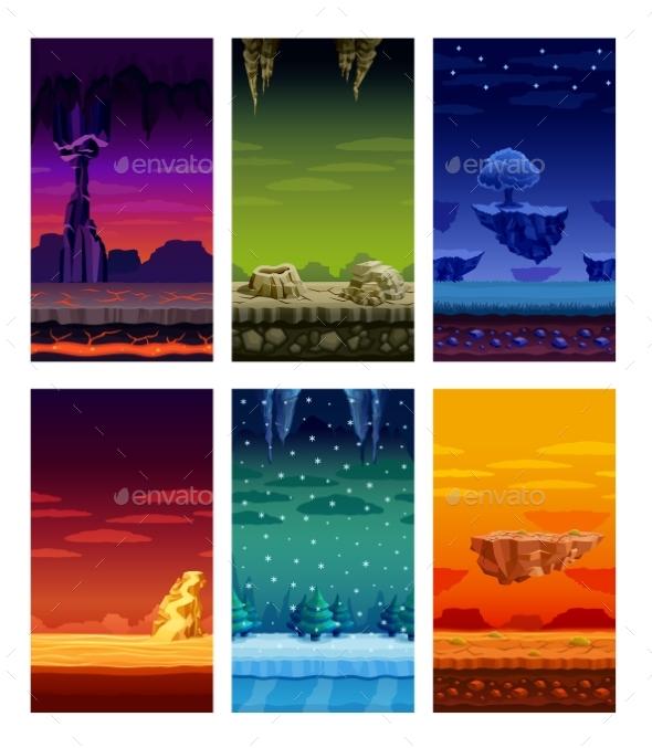 Colorful Background Landscape Cartoon Set - Landscapes Nature