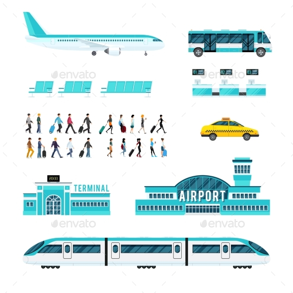 People Transport and Airport Icons Set - Travel Conceptual