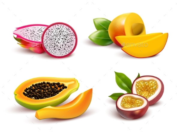 Tropical Fruits Realistic Set - Food Objects