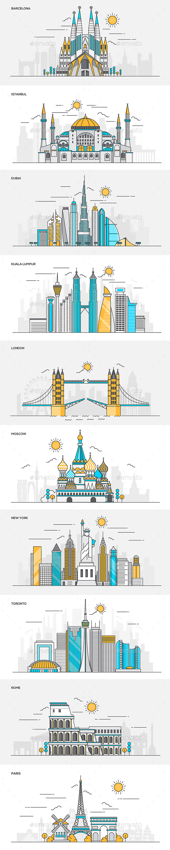 Set of Flat Line Color Banners of World Cities - Buildings Objects
