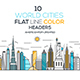 Set of Flat Line Color Banners of World Cities - GraphicRiver Item for Sale