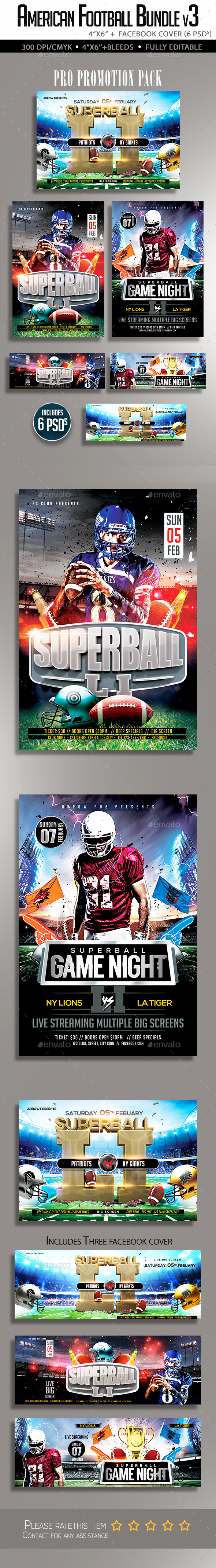 American Football Flyer Bundle V3 - Clubs & Parties Events