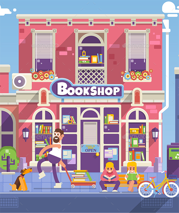 Bookshop Facade In Flat Style - Buildings Objects