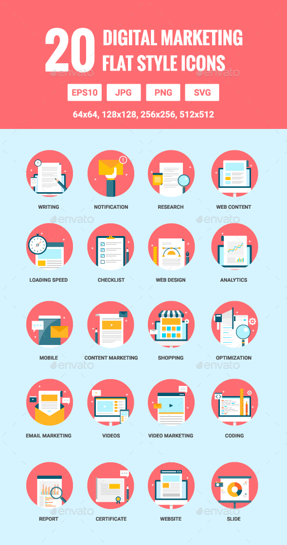 20 Flat Digital Marketing Icons - Web Icons