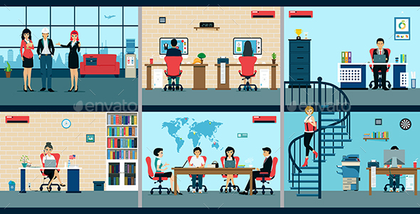 Male and Female Employees are Working in the Office - Concepts Business