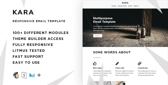 Kara – 100+ Modules – Responsive Email + StampReady Builder & Mailchimp Editor