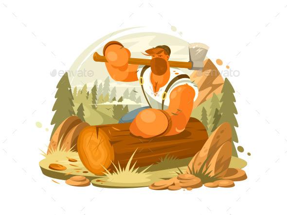 Lumberjack Beard and Ax - People Characters