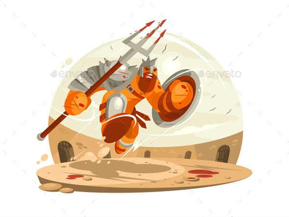 Gladiator in Armor with Shield - People Characters