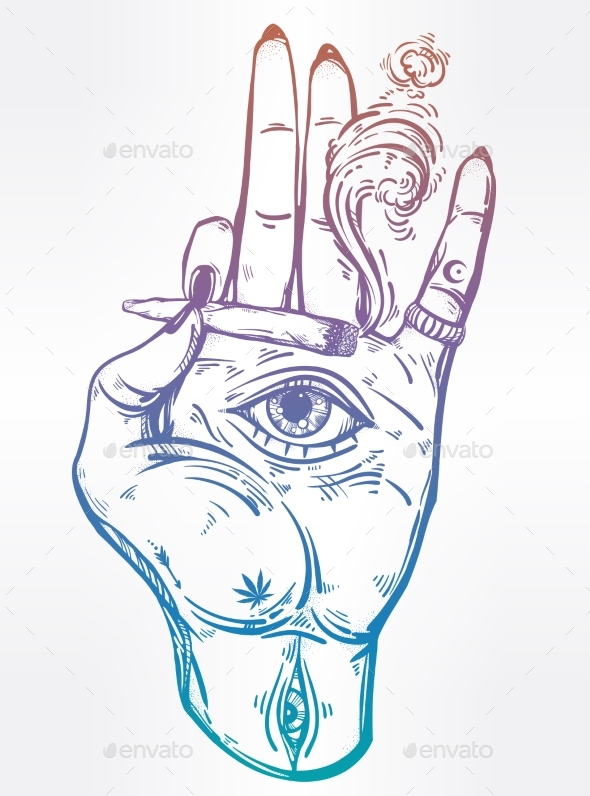 Hand Holding a Joint or Cigarette with an Eye - Tattoos Vectors