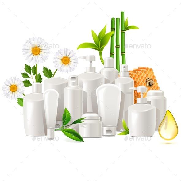 Vector Natural Cosmetics Concept - Health/Medicine Conceptual