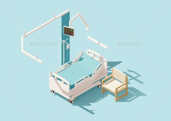 Isometric Low Poly Hospital Bed - Health/Medicine Conceptual