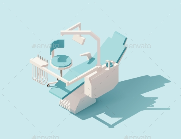 Isometric Low Poly Dental Chair - Health/Medicine Conceptual