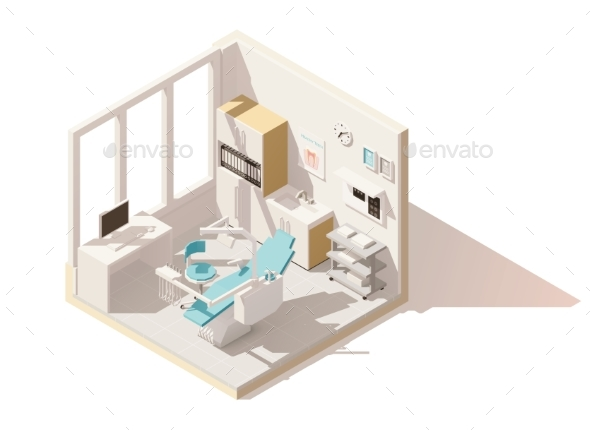Vector Isometric Low Poly Dental Office - Health/Medicine Conceptual