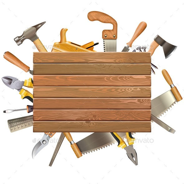 Vector Wooden Board with Hand Tools - Industries Business