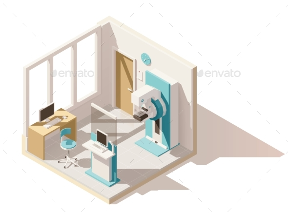 Vector Isometric Low Poly Mammography Room - Health/Medicine Conceptual