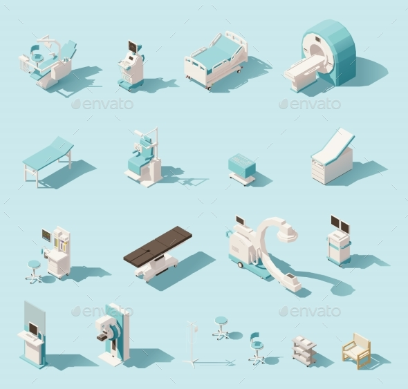 Isometric Low Poly Medical Equipment Set - Health/Medicine Conceptual