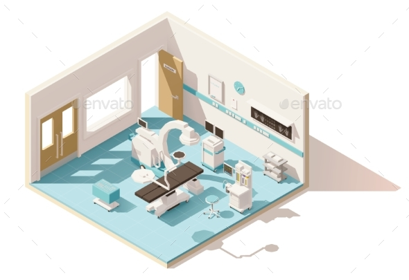 Vector Isometric Low Poly Operating Room - Health/Medicine Conceptual