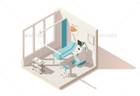 Isometric Low Poly Ultrasound Room - Health/Medicine Conceptual