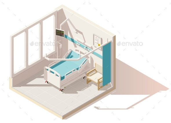 Isometric Low Poly Hospital Ward - Health/Medicine Conceptual
