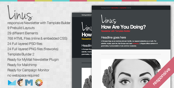 Linus - Responsive Newsletter with Template Builder - Newsletters Email Templates