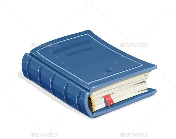 Blue Vintage Book with Bookmark - Man-made Objects Objects