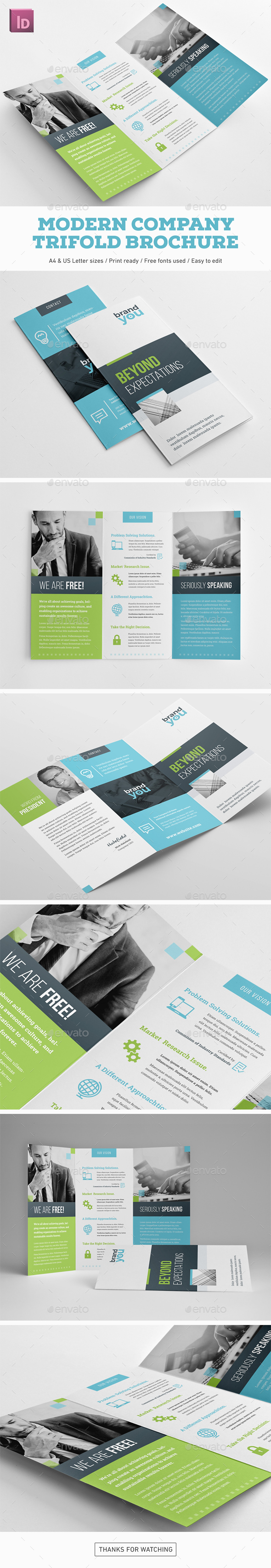 Modern Company Trifold Brochure - Corporate Brochures