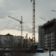 Construction of Concrete Buildings on Background Moving Clouds - VideoHive Item for Sale