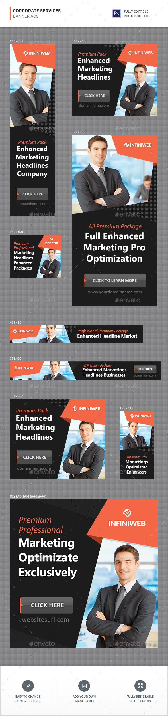 Corporate Services Banners - Banners & Ads Web Elements