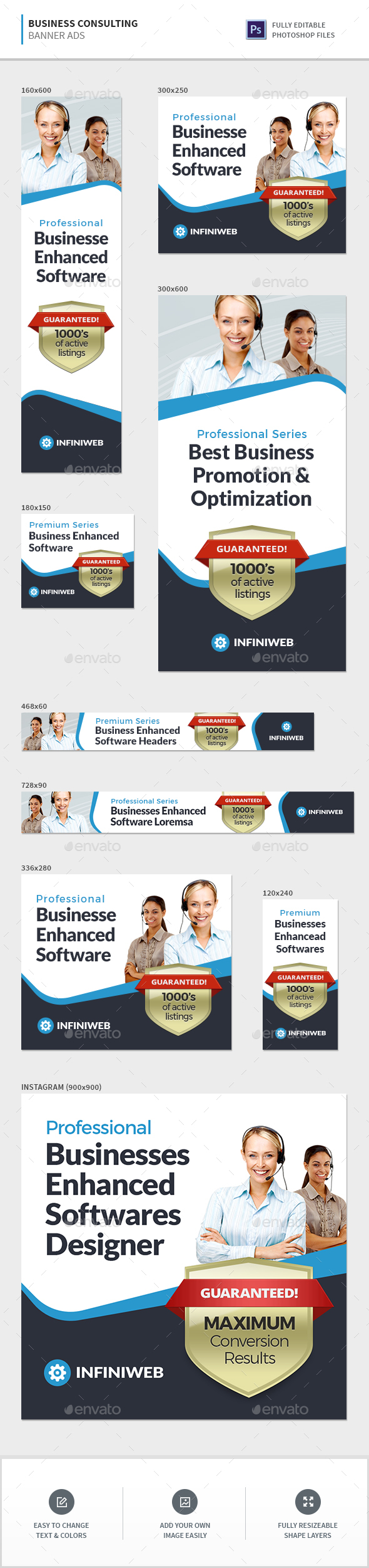 Business Consulting Banners - Banners & Ads Web Elements