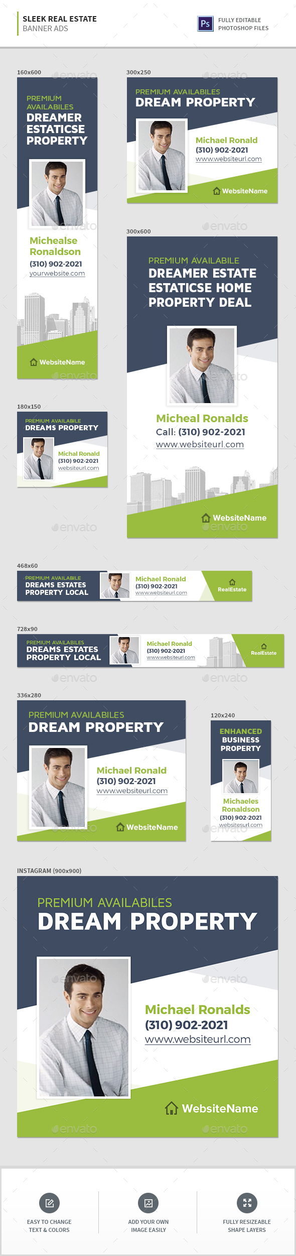 Sleek Real Estate Banners - Banners & Ads Web Elements