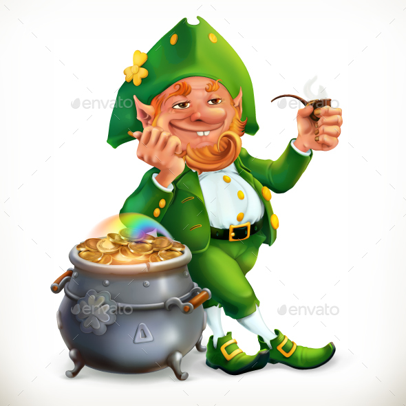 Leprechaun and pot of gold coins by allevinatis graphicriver leprechaun and pot of gold coins altavistaventures