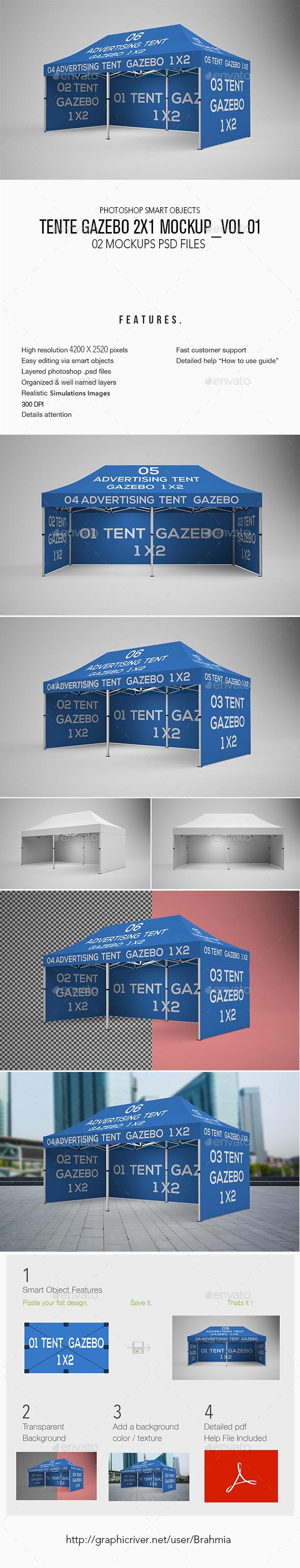 Tente Gazebo 2x1 Mockup Vol 01 - Miscellaneous Displays