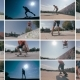 Montage: Multiscreen Skateboarder Does Flip at Sunset. Sports Background.