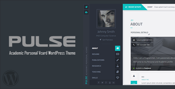 Pulse - Academic / Personal Vcard WordPress theme