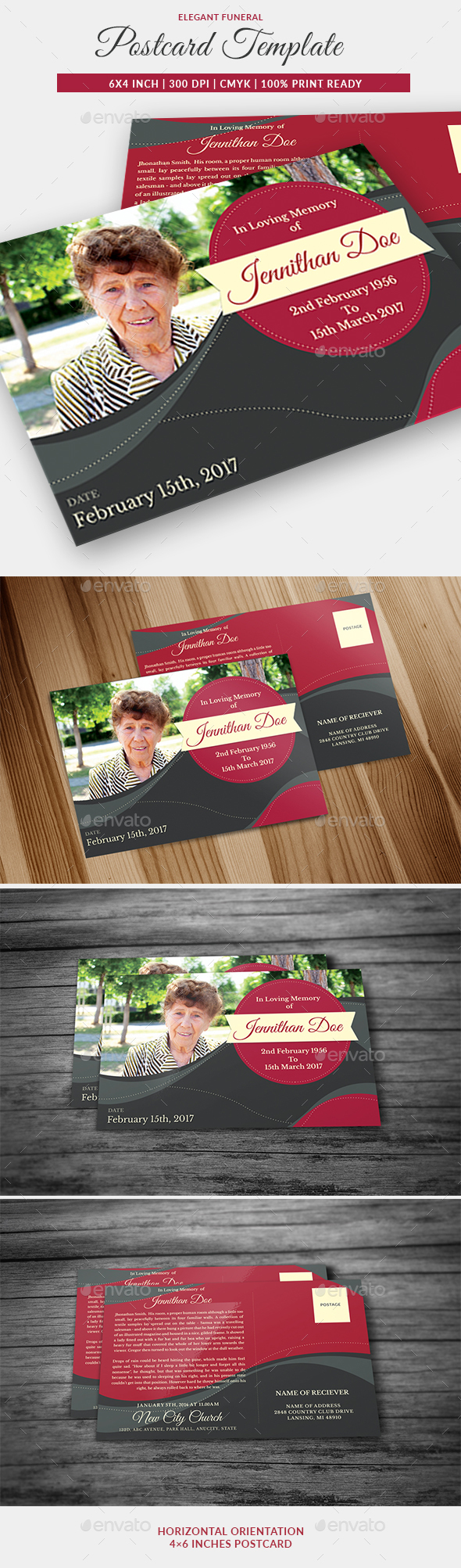 Funeral Program Post Card Template 05 - Miscellaneous Print Templates