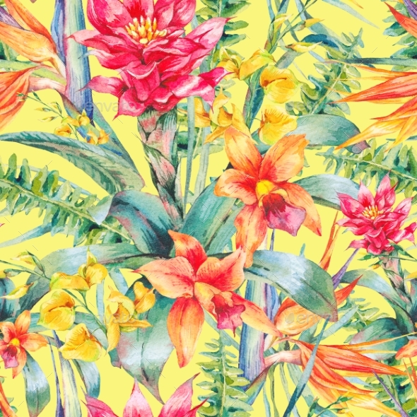 Watercolor Vintage Floral Tropical Seamless - Backgrounds Decorative